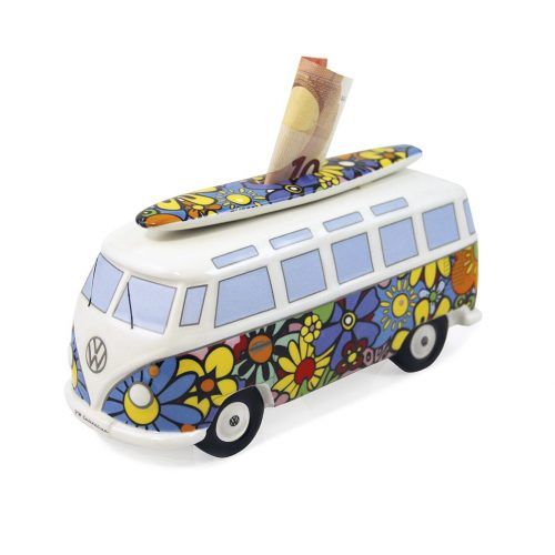 VW T1 Bus Money Bank with Surf Board (1:18) - Flower Power