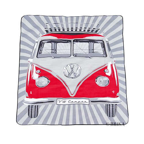 VW T1 Bus Picnic Blanket (200x150cm) with Carrying Bag - Samba Stripes/red