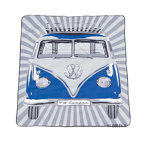 VW T1 Bus Picnic Blanket (200x150cm) with Carrying Bag - Samba Stripes/blue