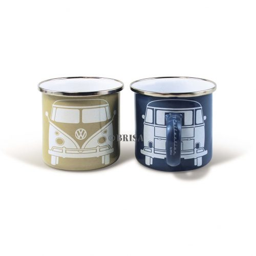 VW T1 Bus Enamel Mug 2-pc Set 350ml - blue/gray