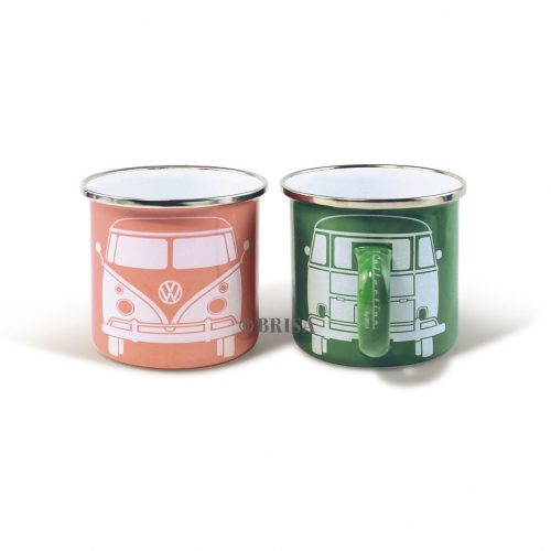 VW T1 Bus Enamel Mug 2-pc set 350ml - green/rose pink